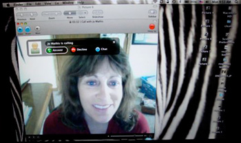 Jo Mathis using Skype, a video chat application.