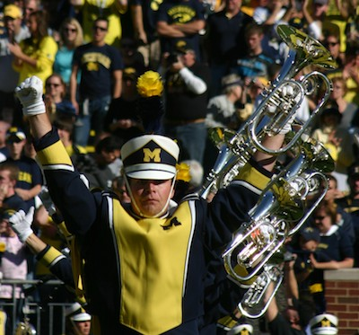 Michigan Marching Band horn leader