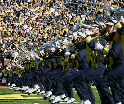 Michigan Marching Band trombones