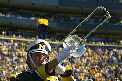 Michigan Marching Band trombone player
