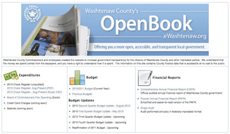Screenshot of Washtenaw County's OpenBook website