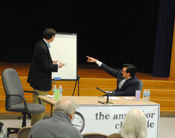 John Floyd (left) and Newcombe Clark (right) during the Ward 5 candidate forum held at Wines Elementary School.