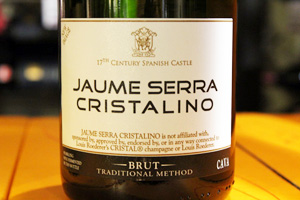 Disclaimer label on bottle of Jaume Serra Cristalino