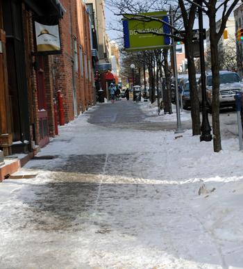 Downtown Ann Arbor sidewalk snow clearing