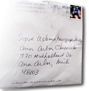 Envelope addressed to a Newspaper Man
