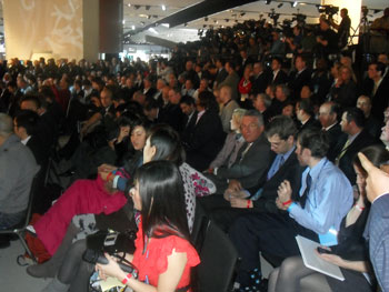 Journalists awaiting a press conference at the 2011 NAIAS