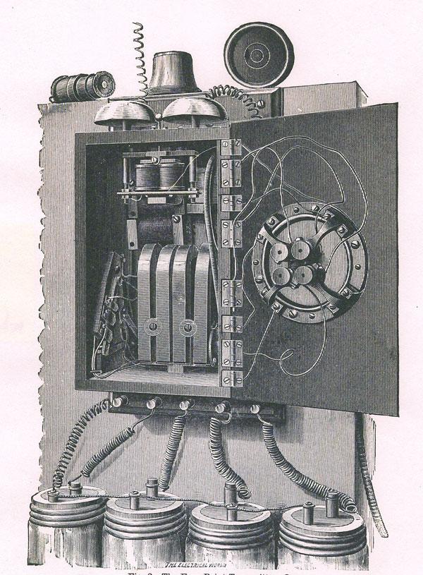 Illustration of Webster Gillett's four-point telephone