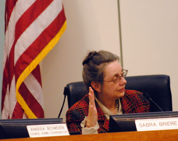 Sabra Briere Ann Arbor city council raised hand to speak