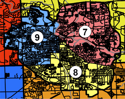 Map of Ann Arbor districts in a 9-district plan