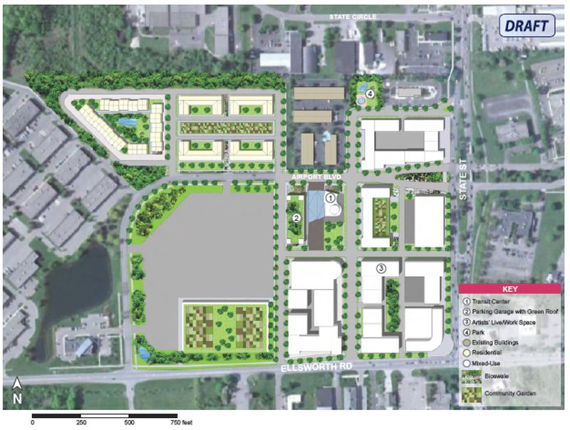 A rendering of possible future development from Pittsfield Township's master plan