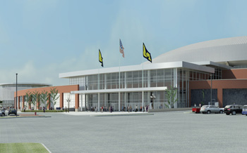 Architect's rendering of Crisler Arena's new northeast entry