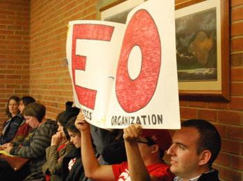 University of Michigan Graduate Student Organization Sign Ann Arbor city council meeting