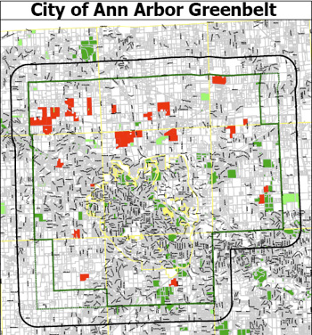 Map of Ann Arbor greenbelt with proposed expansion