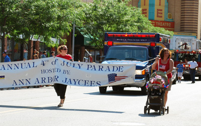 Jaycees sign at Ann Arbor July 4th parade
