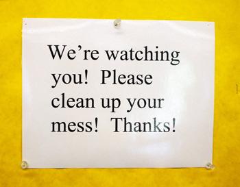 Sign in an Ann Arbor elementary school teachers lounge