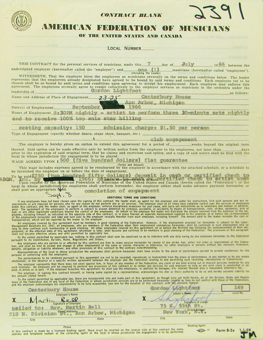 Detail of Gordon Lightfoot's contract with Canterbury House