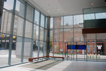 Southwest corner of the Ann Arbor justice center lobby