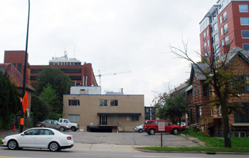 Site of the proposed Varsity apartments, from the Huron Street side