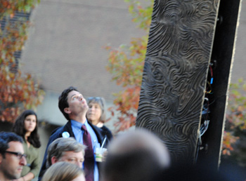 Stephen Ranzini at sculpture dedication