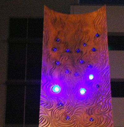 Dreiseitl Sculpture blue lights