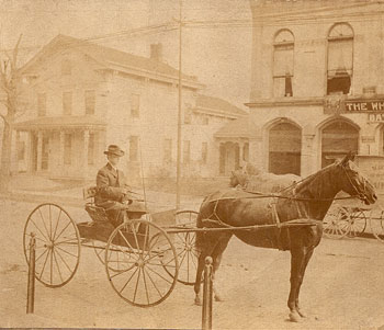 William in a postal delivery cart, circa 1905