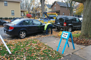 Car tow at Mary Street polling place
