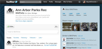 Twitter page for Ann Arbor parks