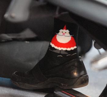 A Santa sock worn by regent Libby Maynard