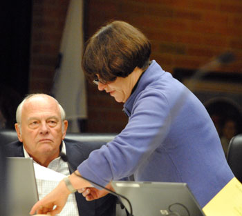 Tony Derezinski (Ward 2) and Jane Lumm (Ward 2) before the start of the meeting.