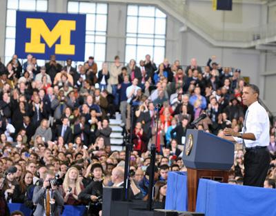 Barack Obama and crowd