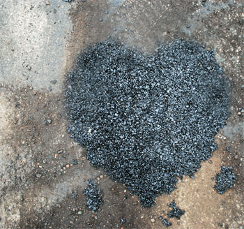 Happy Valentine Heart-shaped pothole
