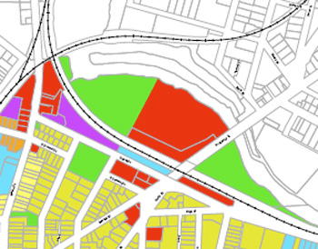 A detail from the Central Area Future Land Use map