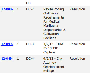 Ann Arbor city council agenda screenshot