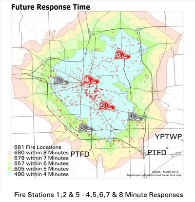 Fire fighter response time map