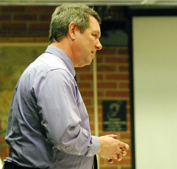 Assistant city attorney Bob West at the liquor license hearing on March 19, 2012.