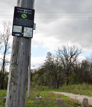 Border to Border Trail sign at Water Street property in Ypsilanti