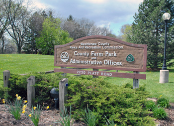 Entrance to County Farm Park and the Washtenaw County parks and recreation administrative offices.
