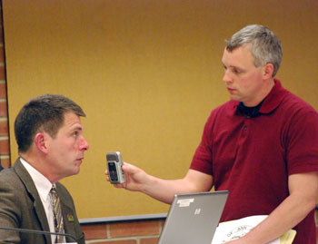 Andrew Cluley interviews Steve Powers after the council meeting.