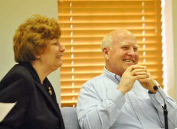 Webster Township supervisor John Kingsley and township clerk Mary Dee Heller.