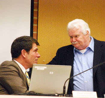 City Administrator Steve Powers (left) and Mike Anglin (Ward 5).