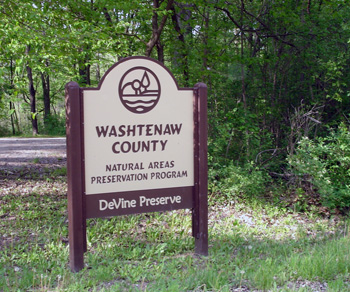 Entrance to Washtenaw County's DeVine Preserve