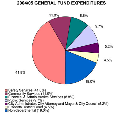 Safety services as a percentage of general fund expenditures.