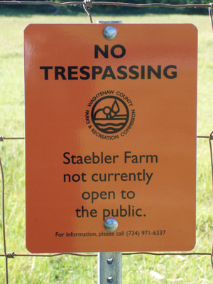 No trespassing sign at Staebler Farm
