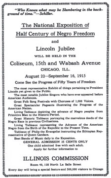 An advertisement for the Lincoln Jubilee in a spring 1915 issue of The Mediator magazine.