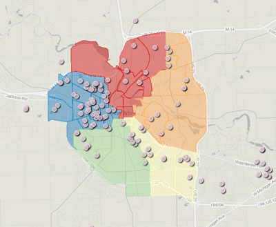 Ward 5 Chuck Warpehoski 2012 Campaign Finance Map