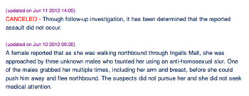 Screenshot of University of Michigan Department of Public Safety update of original item.
