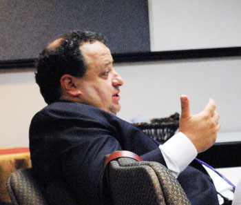Board member David Nacht deliberates at the July 16, 2012 meeting.