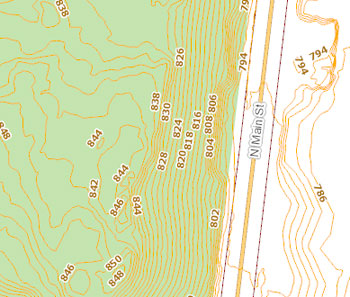 Bluffs Nature Area Topographical Map Two-foot Countours