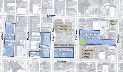 Five city-owned sites in the Connecting William Street project
