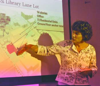 Cheryl Zuellig shows a slide of possible development on the Library Lane lot